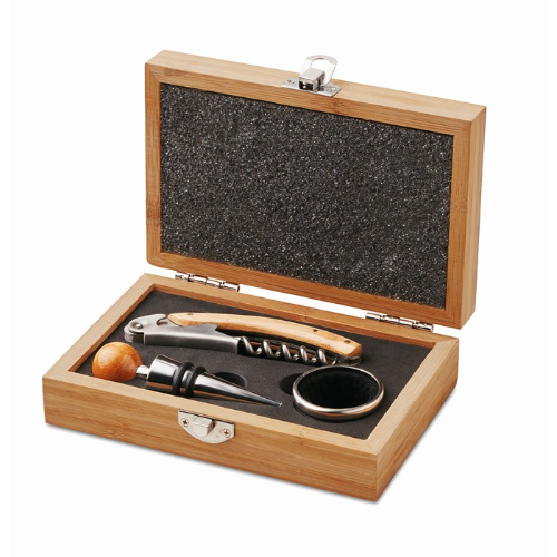 Wine set in bamboo box in wood