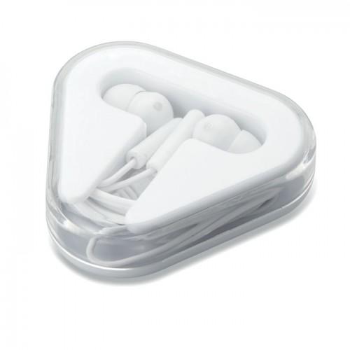 Earphones in PS case in white
