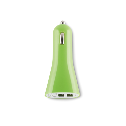 USB 2X car charger in lime