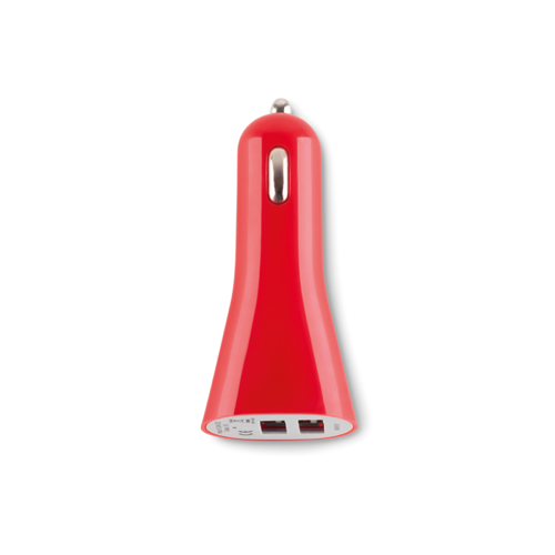 USB 2X car charger in red