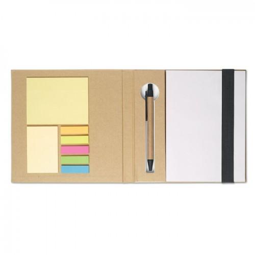 Notebook w/ sticky notes & pen in black