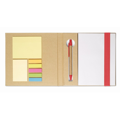 Notebook w/ sticky notes & pen in red