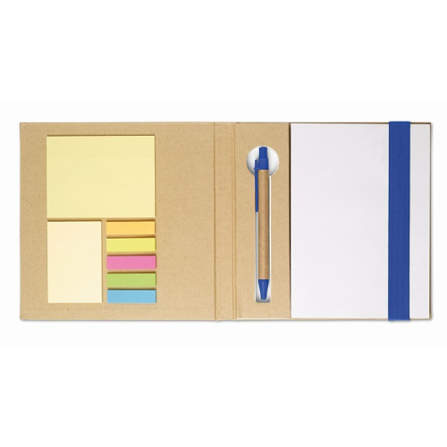 Notebook w/ sticky notes & pen in royal-blue