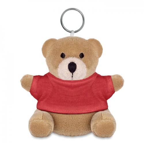 Teddy bear key ring in red