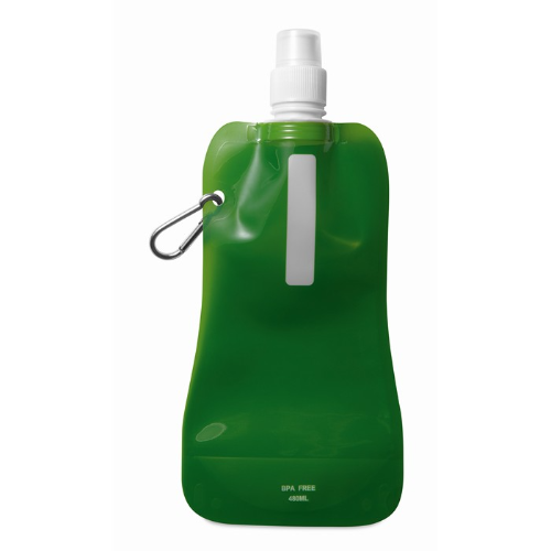 Foldable water bottle in transparent-green