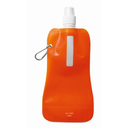 Foldable water bottle in transparent-orange