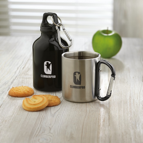 Metal mug & carabiner handle