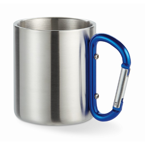 Metal mug & carabiner handle in blue