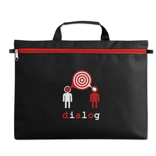 600D polyester document bag in white