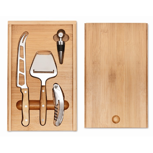 Cheese and wine set in wood