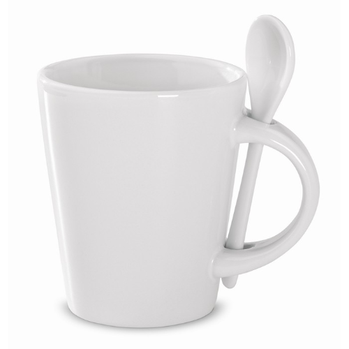 Sublimation mug with spoon in white
