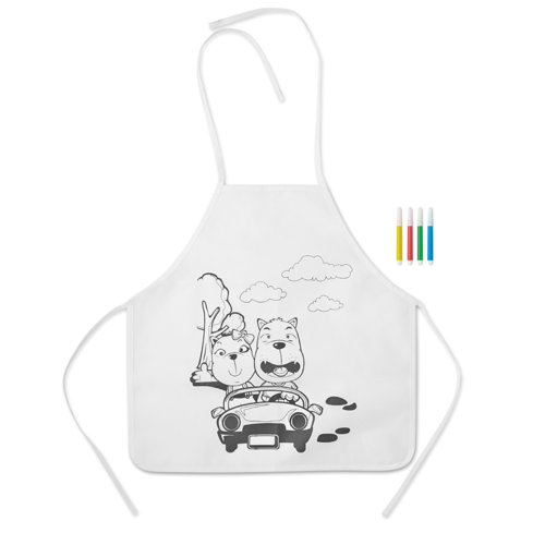 Non Woven Apron With 4 Markers in white