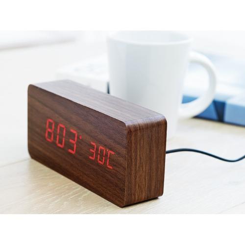 LED clock in MDF in wood