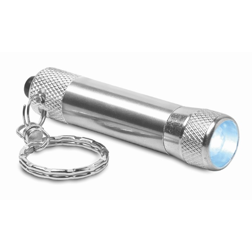 Aluminium torch with key ring in silver