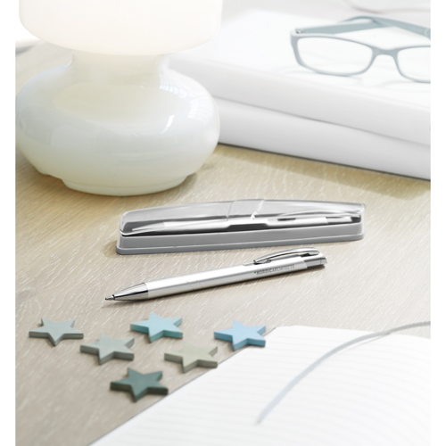 Aluminium Pen In Box in matt-silver