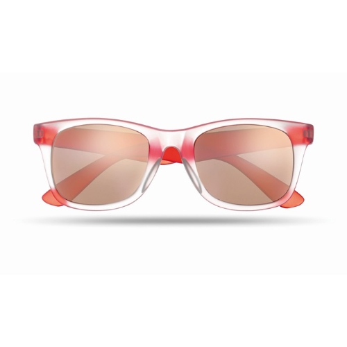 Sunglasses with mirrored lense in red
