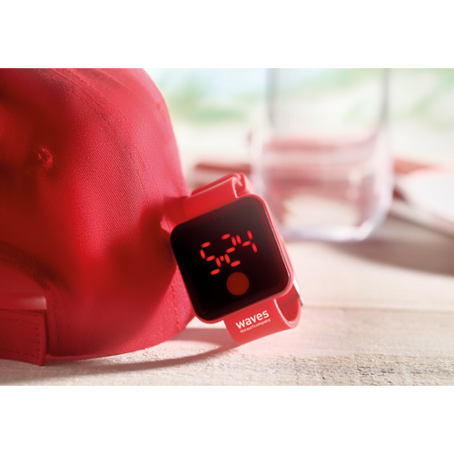 Red Led Watch in white