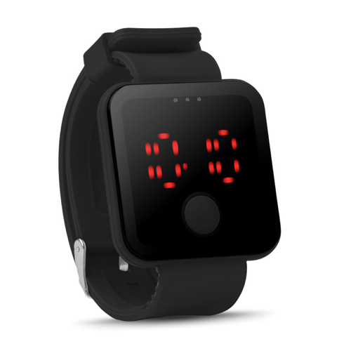 Red Led Watch in black
