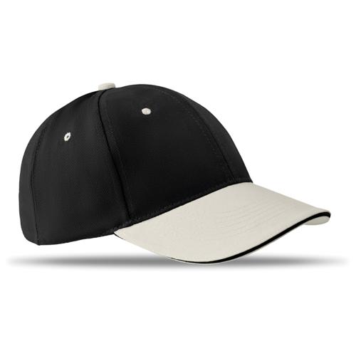 6 Panels Baseball Cap Brushed in black