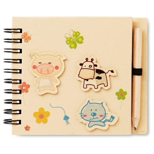 Children'S Notepad With Pencil in beige