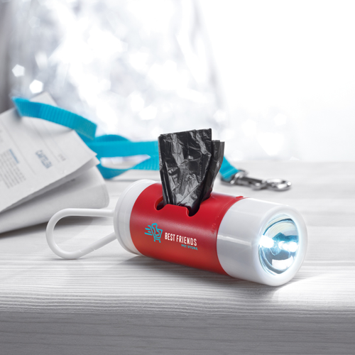 Led Torch With Pet Waste Bag in white