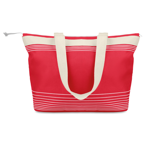 Beach Bag Combi 600D/Canvas in red
