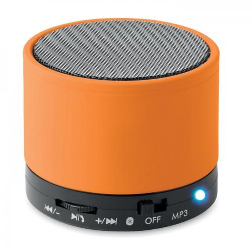 Round Bluetooth speaker in orange
