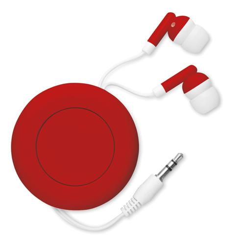Retractable Earphones in red