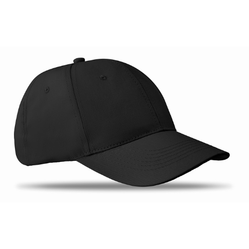 6 panels baseball cap in black