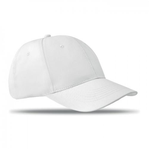 6 panels baseball cap in white