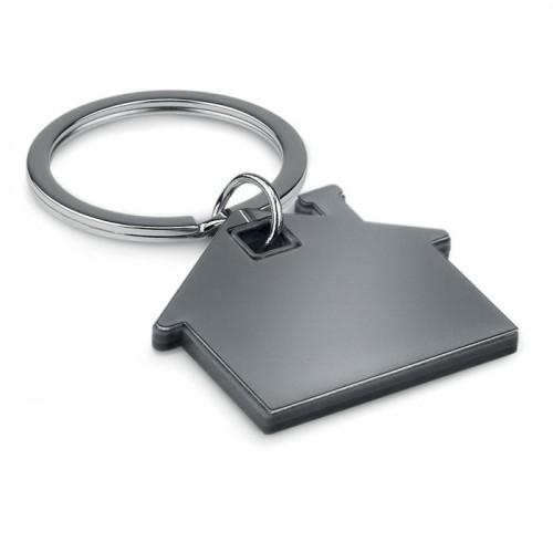 House shape plastic keyring     in black