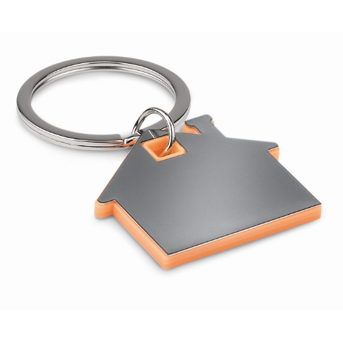 House shape plastic keyring     in orange
