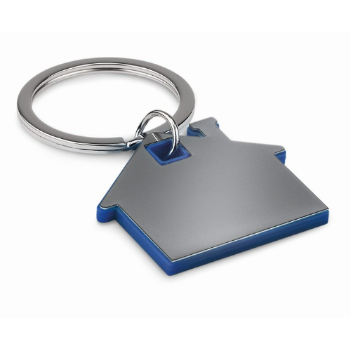House shape plastic keyring     in royal-blue