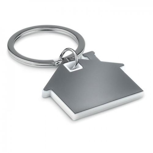 House shape plastic keyring     in white