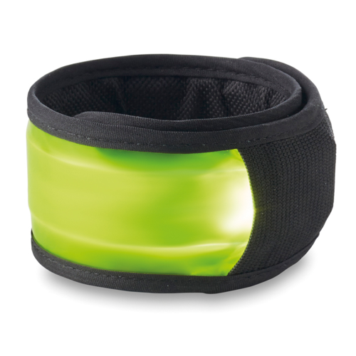 Arm snap strap with light in lime