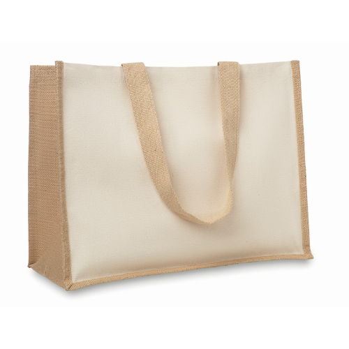 Jute and canvas shopping bag    in beige