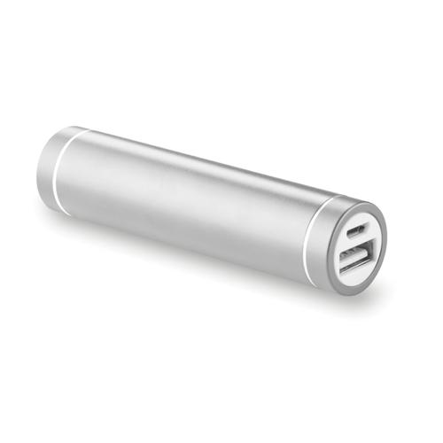 Cylinder Shape Powerbank in matt-silver