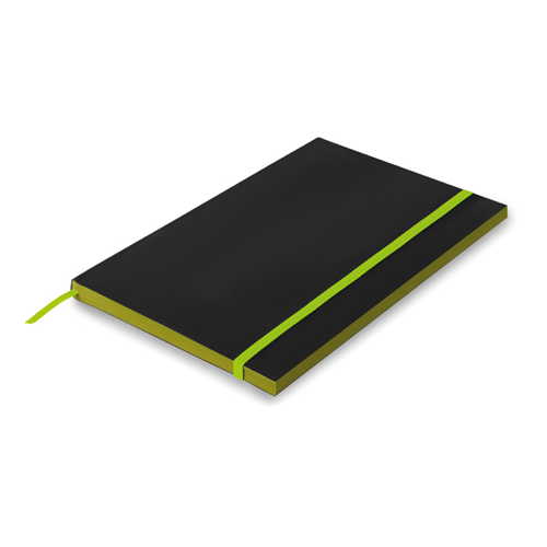 A5 Paper cover notebook lined in lime
