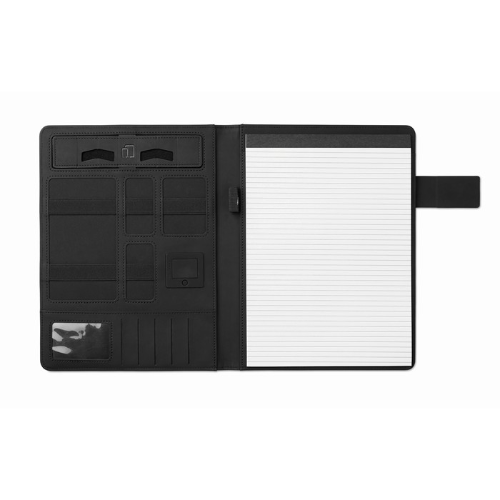 A4 portfolio with power bank in black