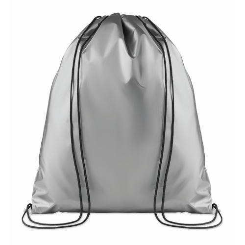 Drawstring bag shiny coating in silver