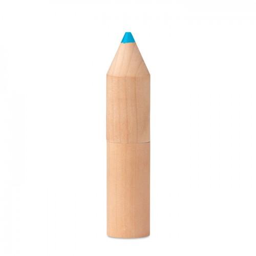 6 pencils in wooden box