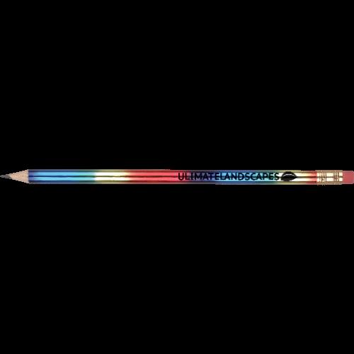 WP - RAINBOW - Eraser (Pink)  Ferrule (Gold)  Barrel (Round Rainbow Foil)