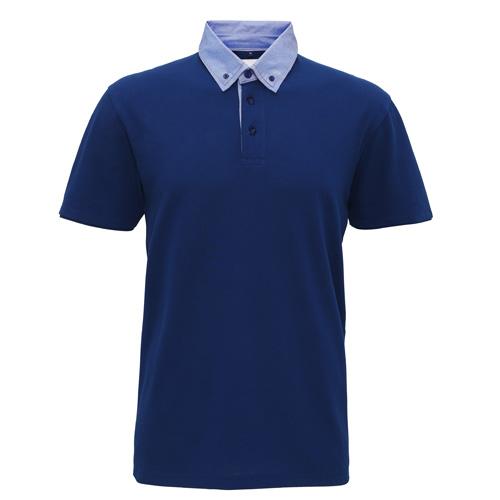 Men'S Chambray Button-Down Collar Polo