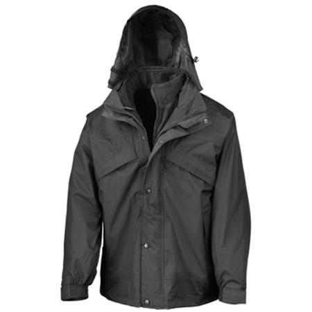3-in-1 Waterproof Fleece Lined Jacket in black