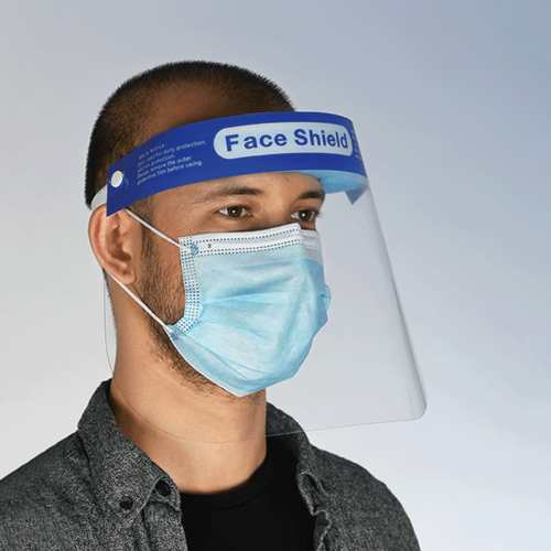 Face Shield - Clear with Blue Band