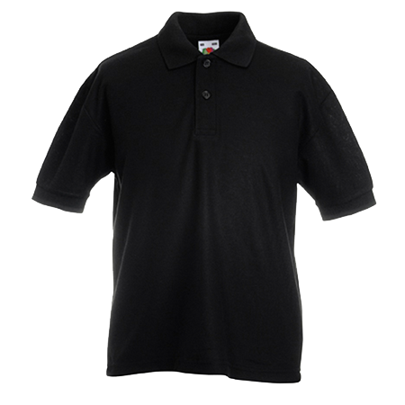 Kids Pique Polo Shirt in black