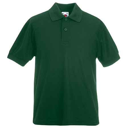 Kids Pique Polo Shirt in bottle-green