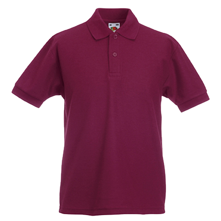 Kids Pique Polo Shirt in burgundy