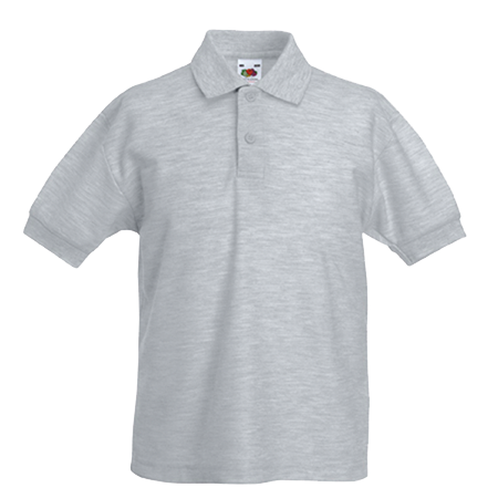 Kids Pique Polo Shirt in heather-grey