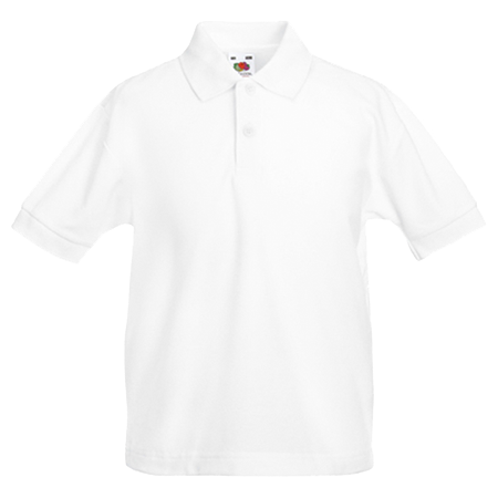 Kids Pique Polo Shirt in white